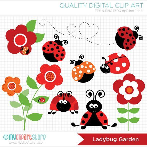 Garden ladybirds flowers . Ladybugs clipart red ladybug