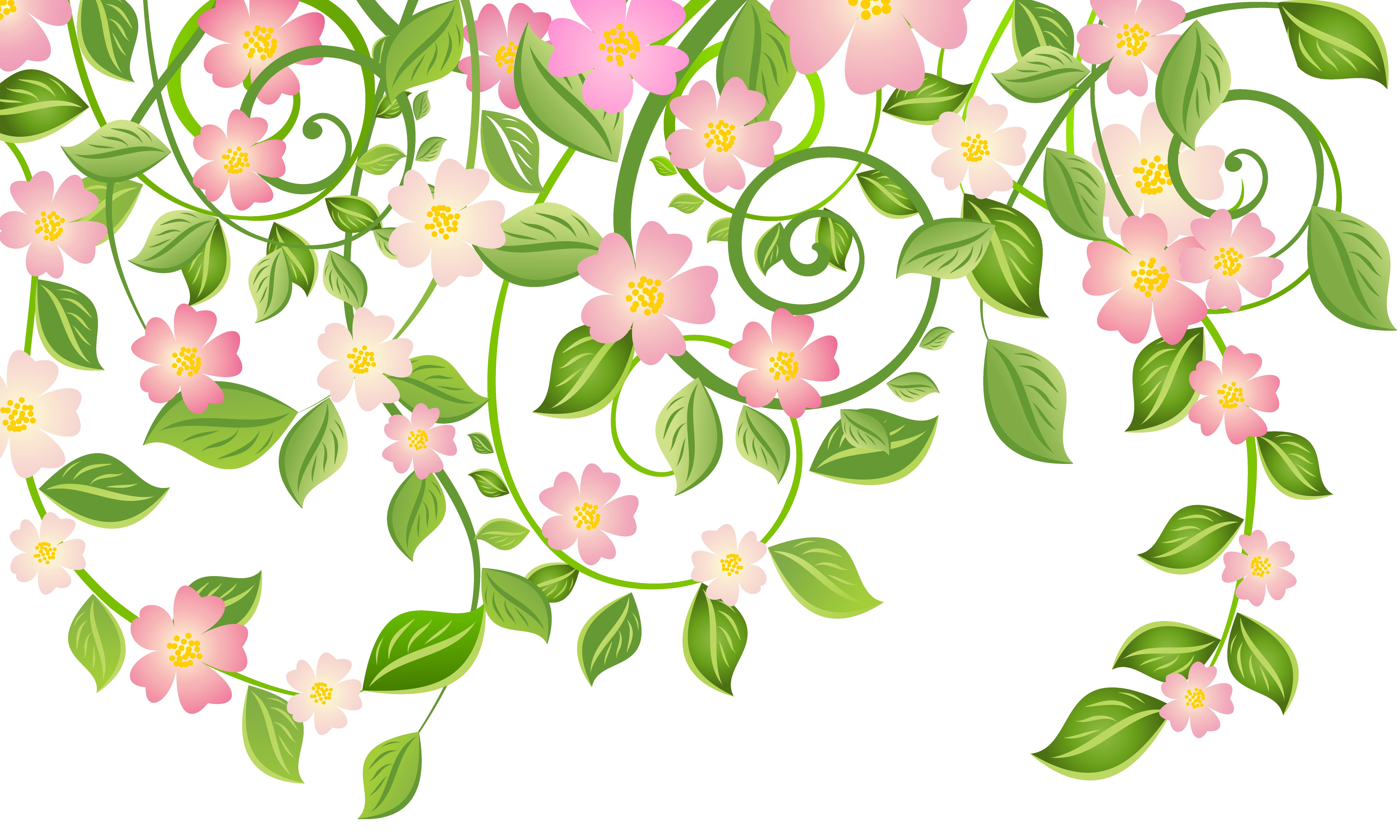 Flower clipart leaves. Spring blossom clip art