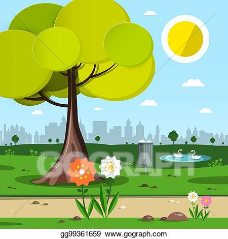 Vector with tree and. Clipart flowers park