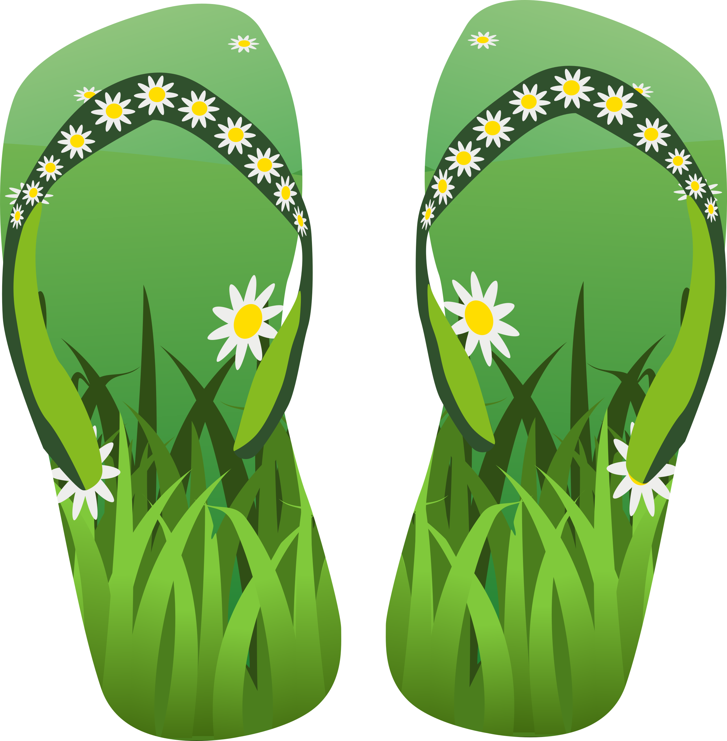 Thong green with grass. Flowers clipart shoe