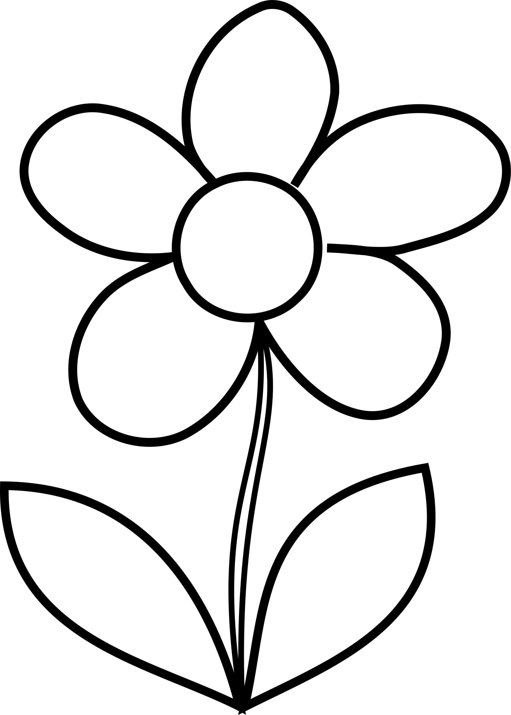 Flowers clipart simple. Flower bw big image