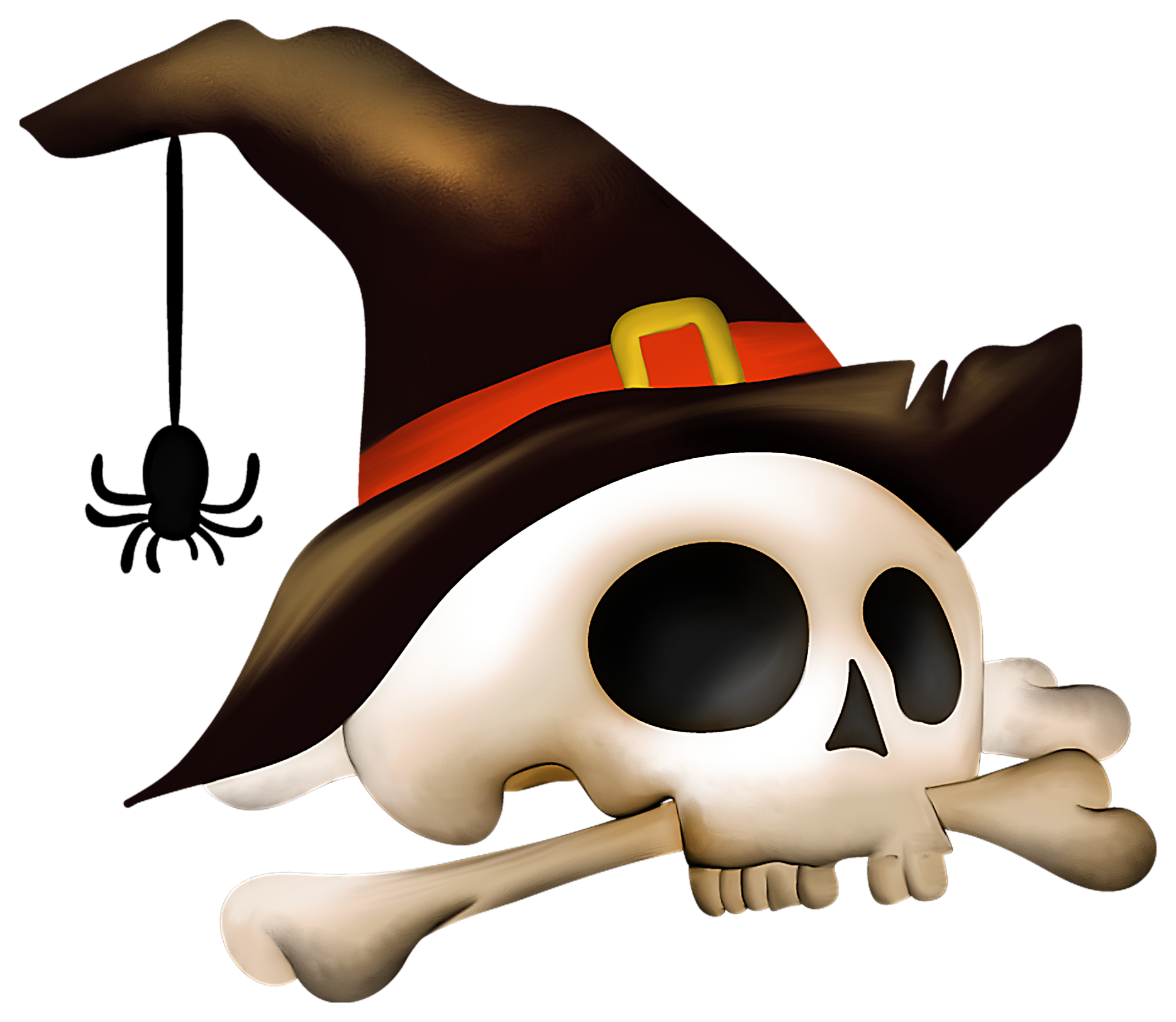 Clipart halloween skull. With bone and witch