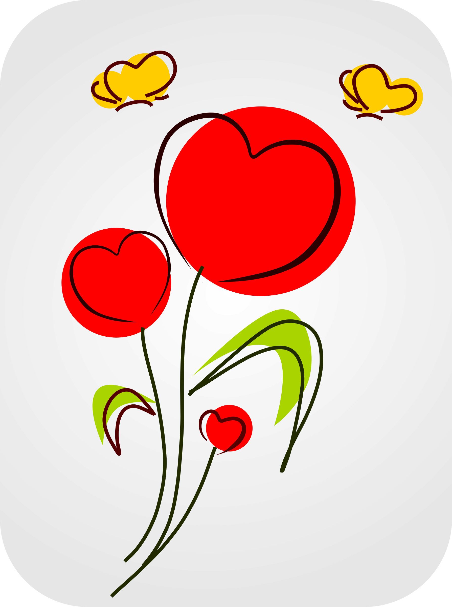 With hearts big image. Flowers clipart smile