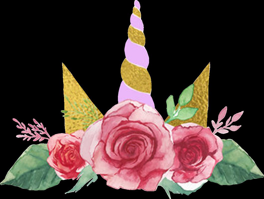 Unicorncrown unicornio corona flores. Clipart unicorn flower