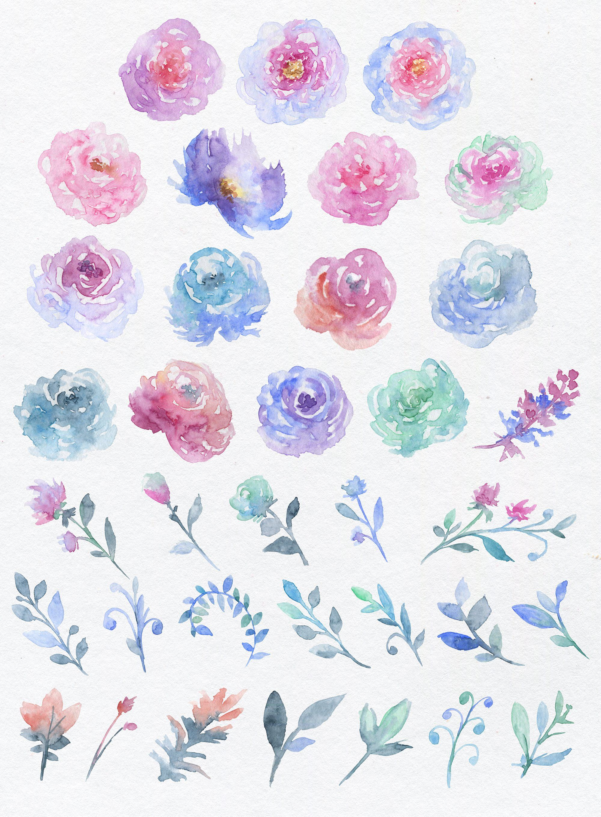 Flowers floral greeting cards. Clipart unicorn flower