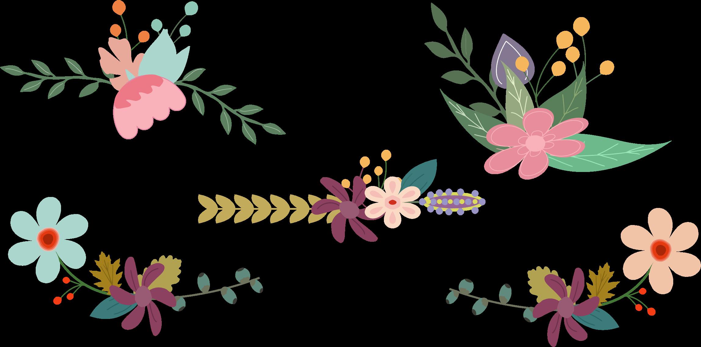 Floral elements big image. Clipart flowers vintage