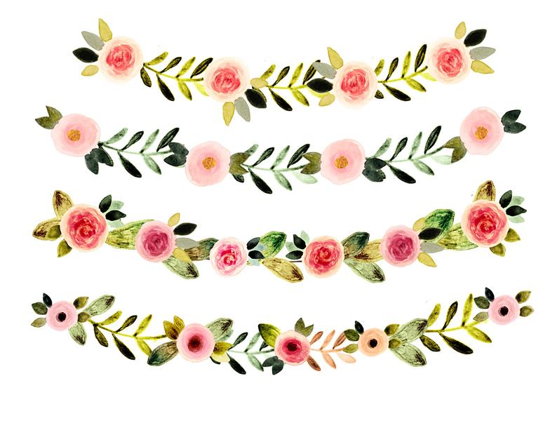 Floral watercolor spring wedding. Clipart flowers vintage