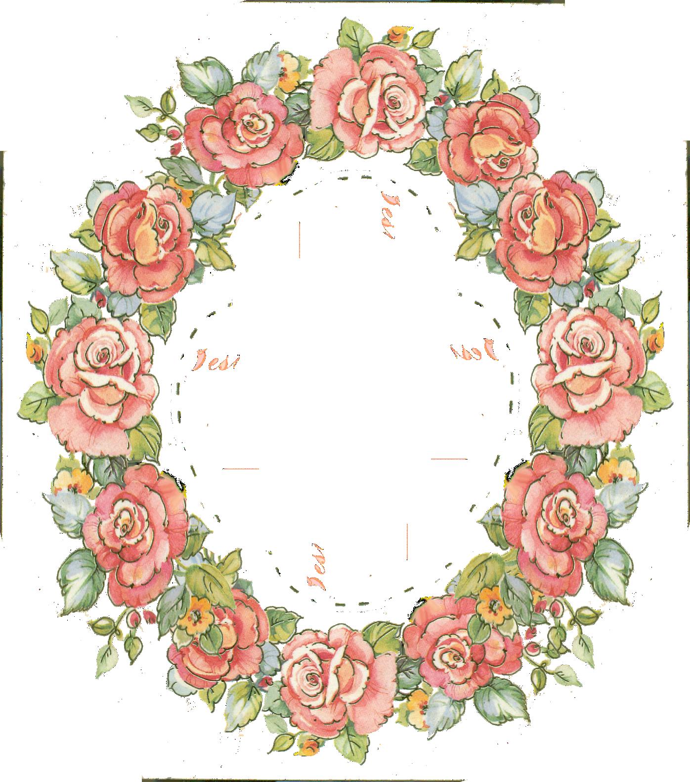 Digital vintage rose frame. Clipart roses wreath