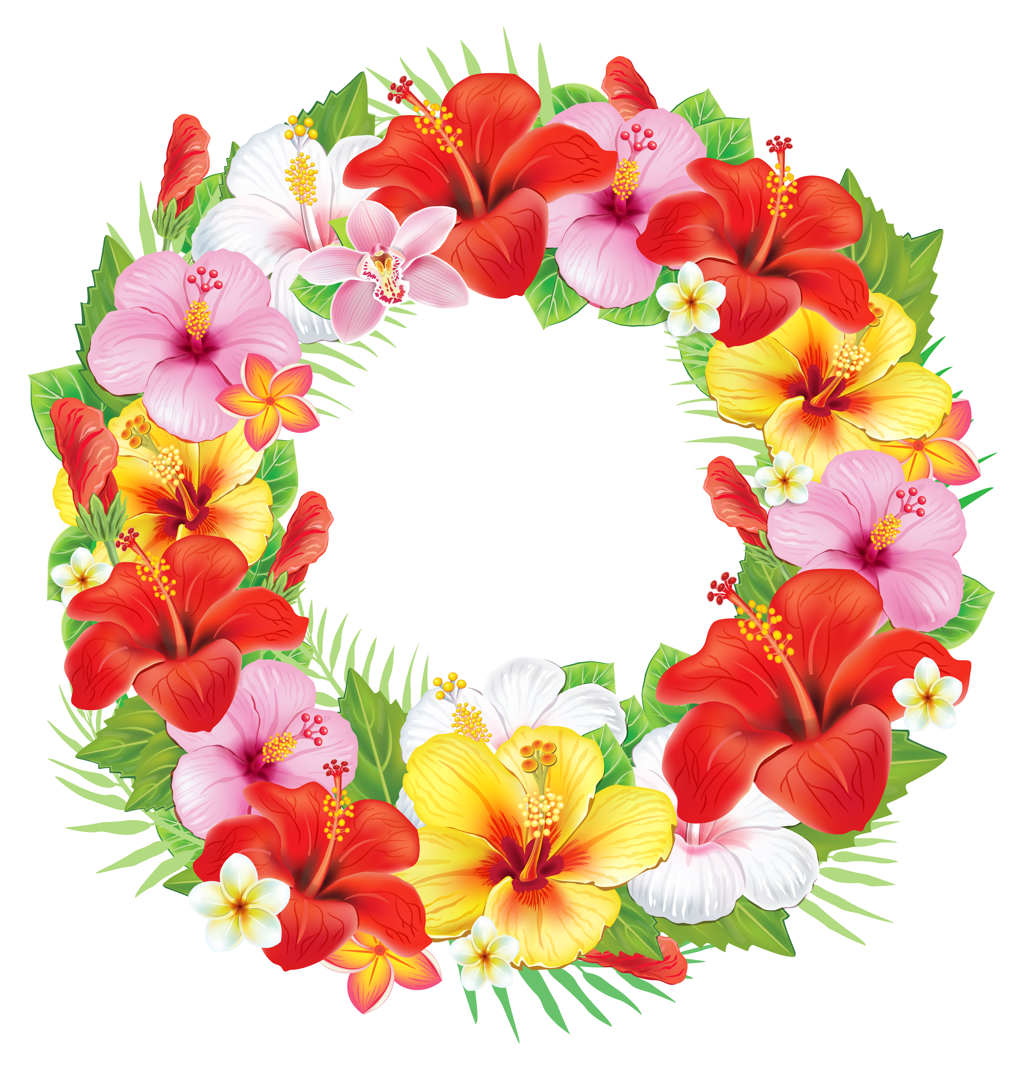 Flower clipart wreath. Of exotic flowers png