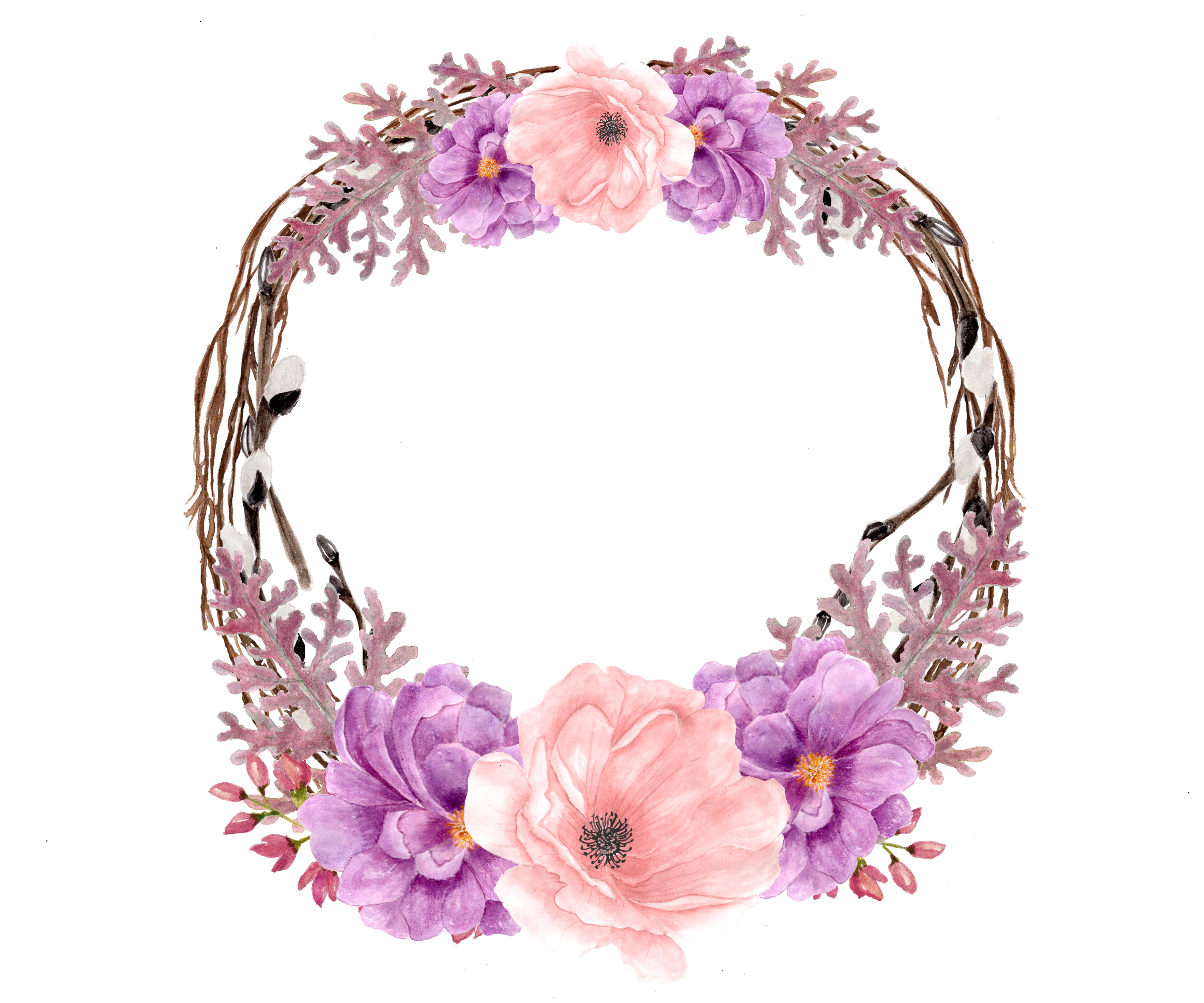 Wedding invitation watercolor painting. Lavender clipart decorative wreath