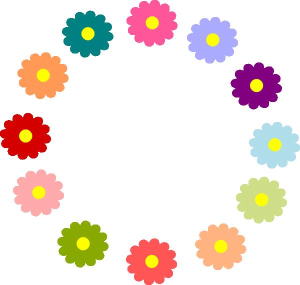 Flower wreath clip art. Flowers clipart rainbow