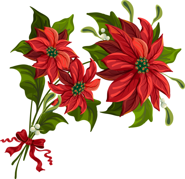 poinsettias clipart vintage christmas candle