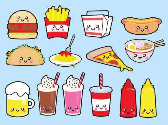 Foods clipart adorable. Premium vector kawaii junk