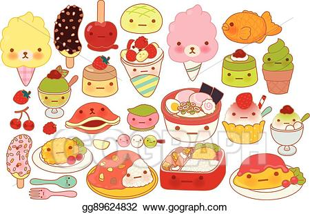 Clipart food adorable. Vector collection of lovely