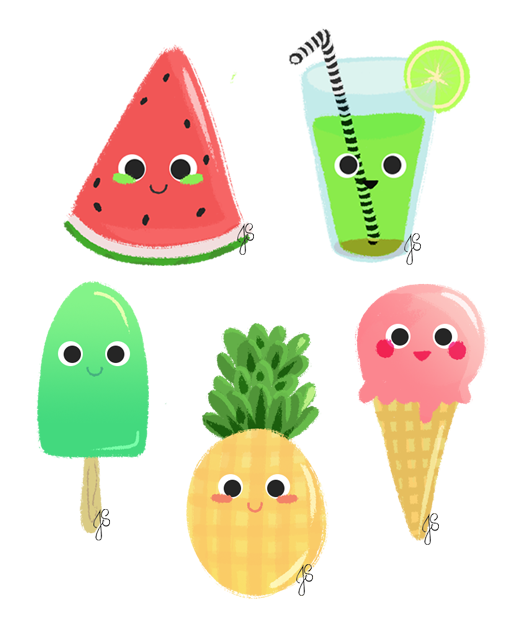 Summer things on behance. Pear clipart kawaii