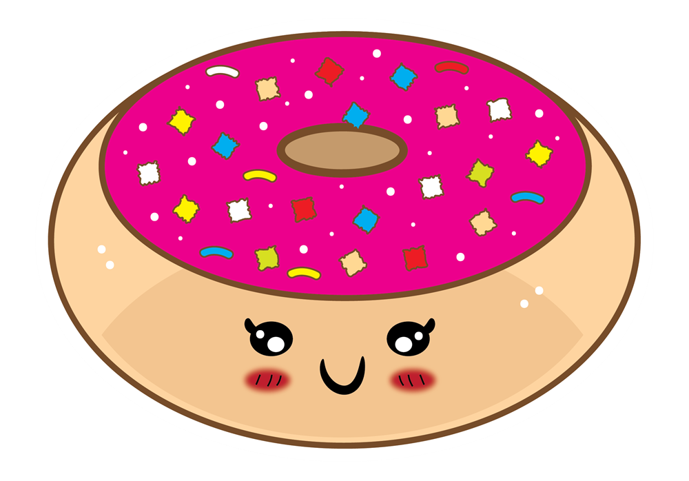 Cute cartoon food pictures. Donuts clipart green