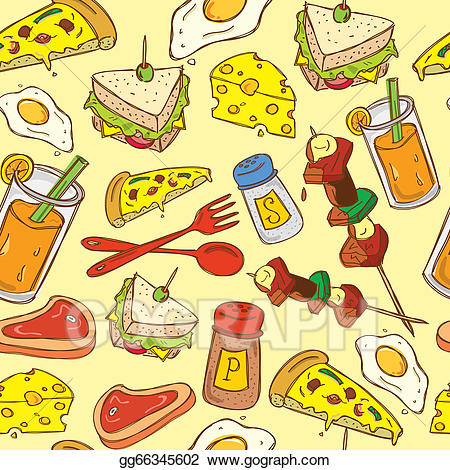 Food clipart background image. Vector stock pattern illustration