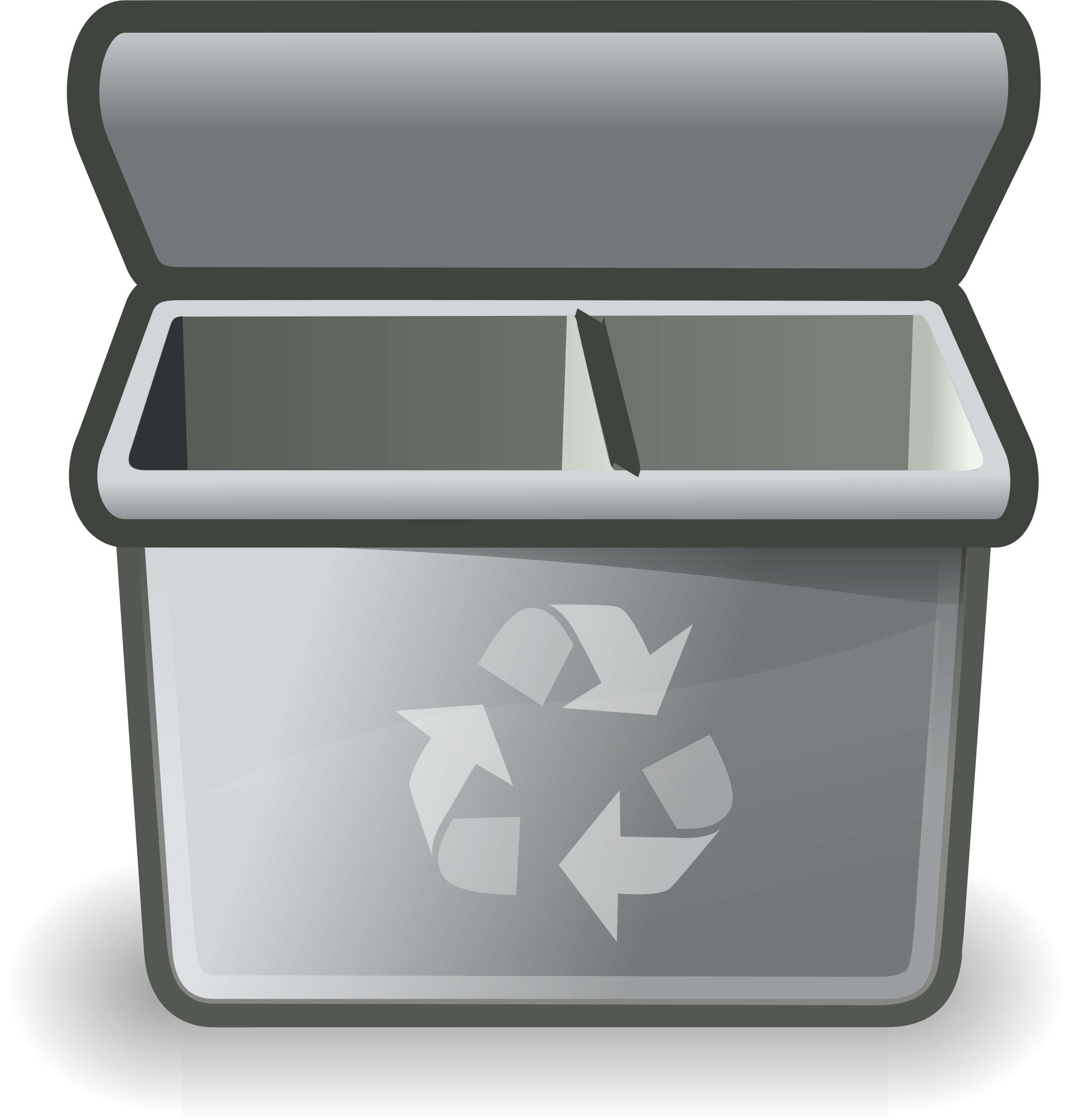 Gray recycle big image. Outline clipart bin