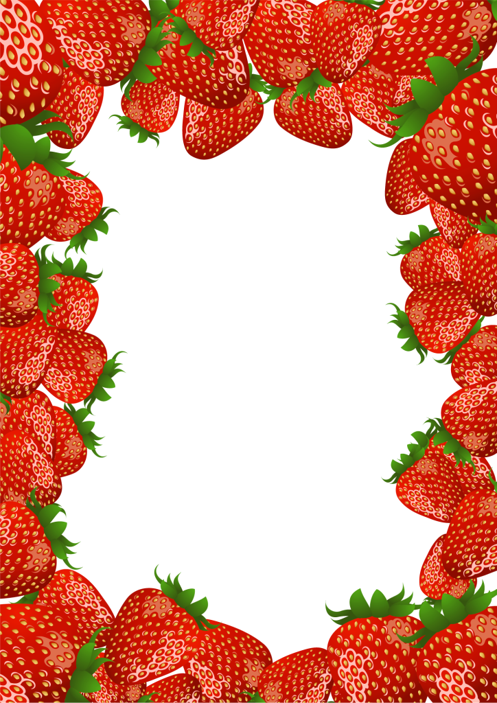 Strawberries clipart banner. Transparent png frame with
