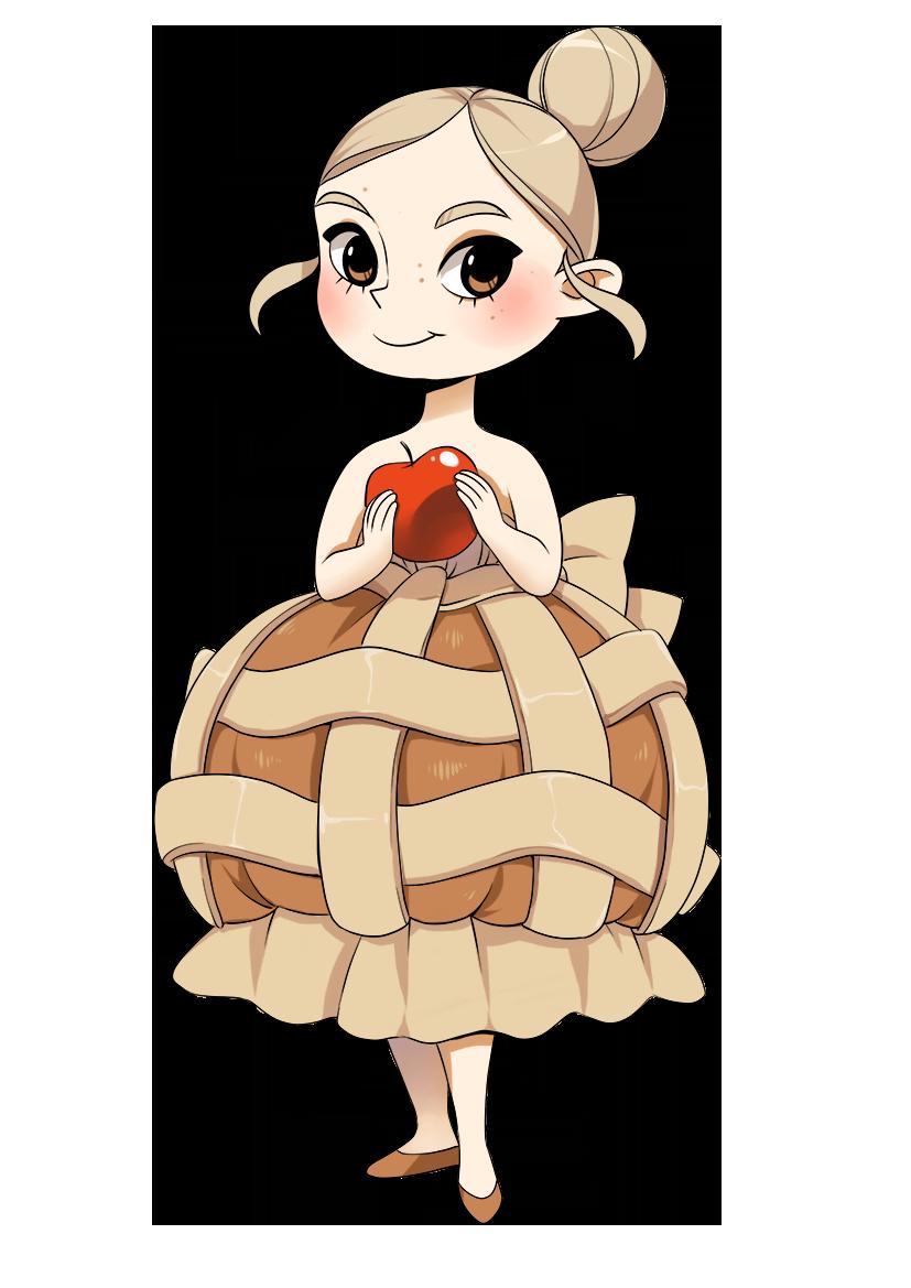 Cartoon applepie by meago. Shy clipart cheerful girl