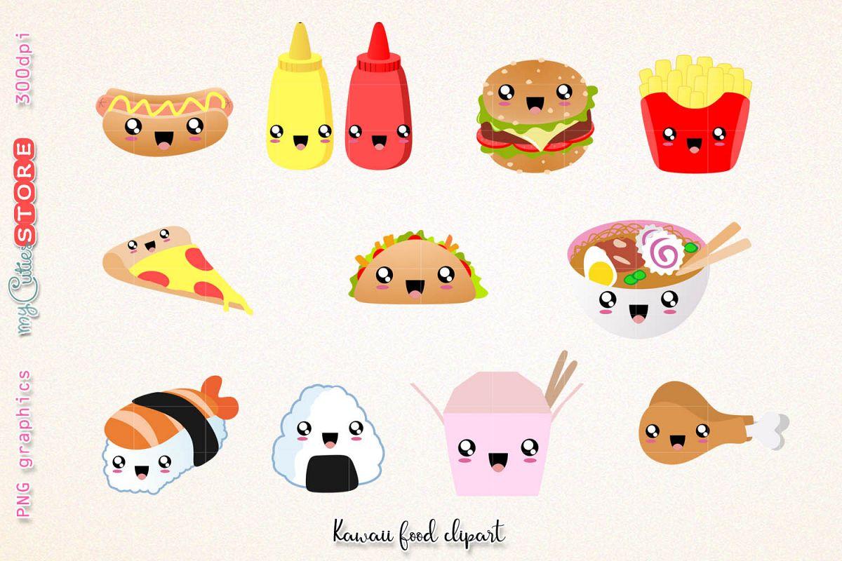 Fast cute kawaii and. Dinner clipart food clip art