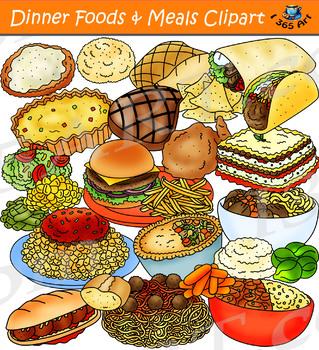 Diner clipart food served. Dinner foods meals