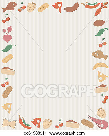 Vector art drawing gg. Clipart food frame