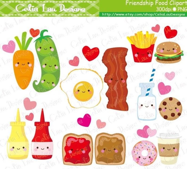 Cartoon best friend cute. Friendship clipart food