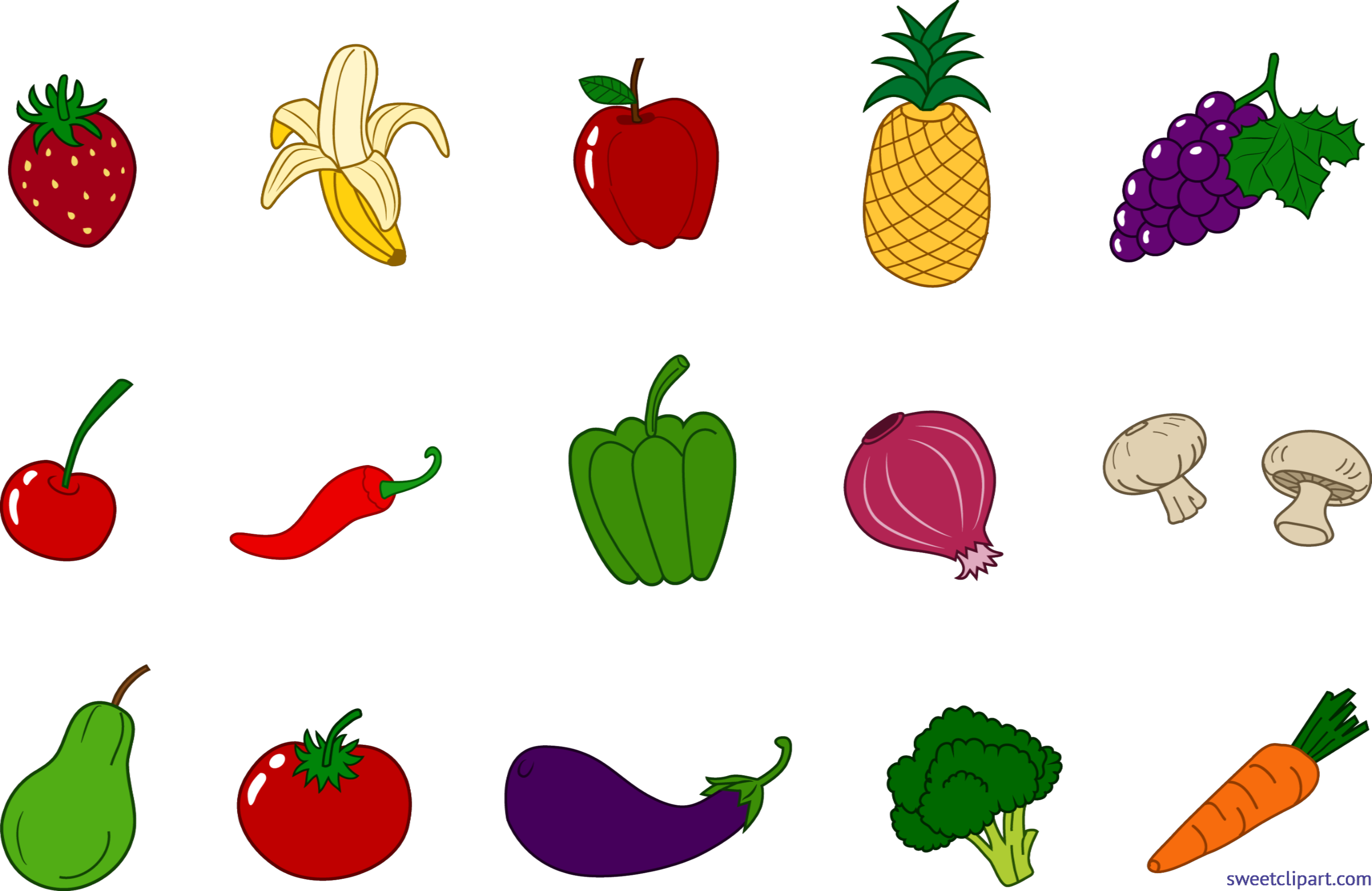 Vegetables clipart yellow vegetable. Fruits veggies set clip