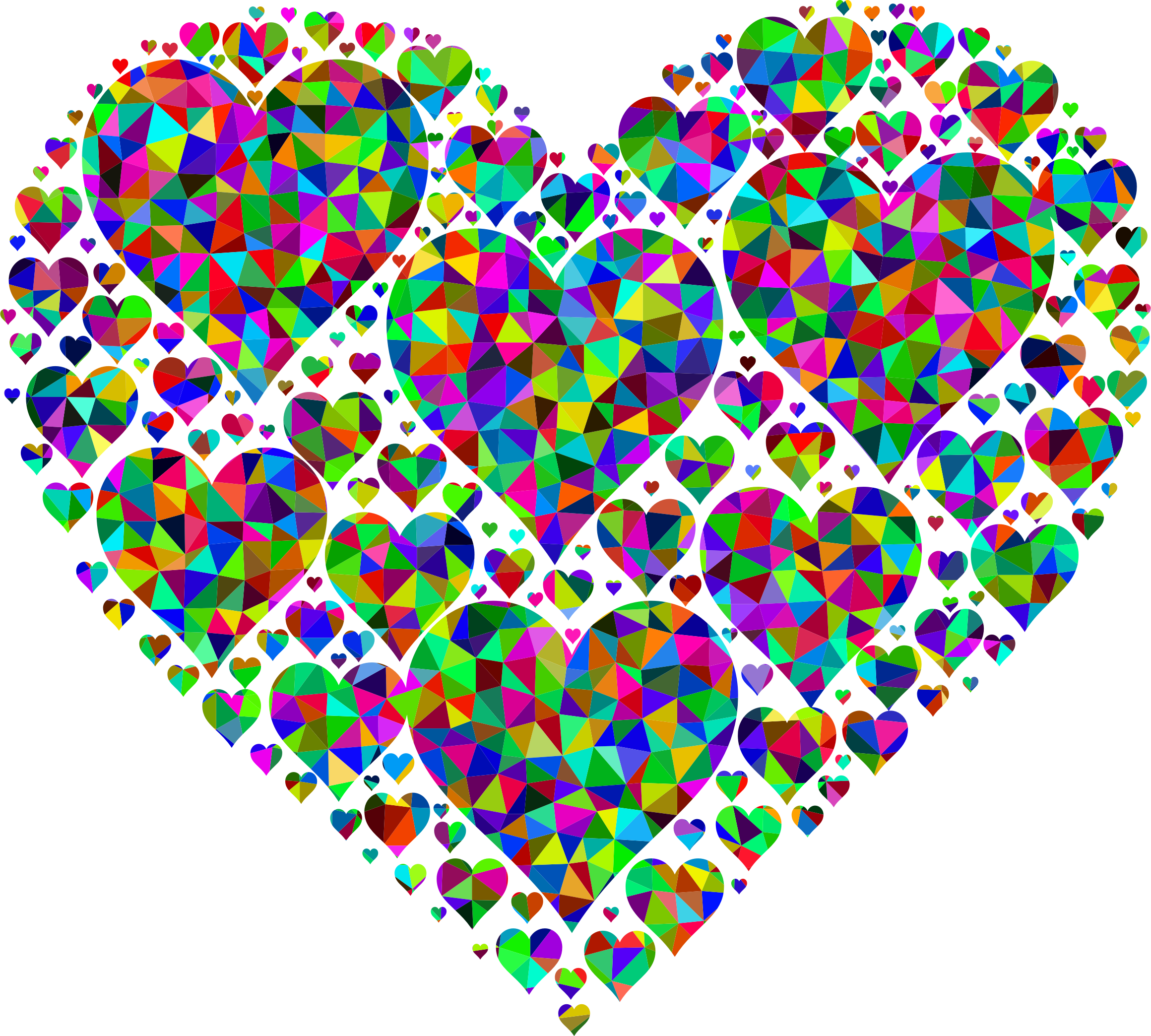 Prismatic low poly hearts. Clipart heart food