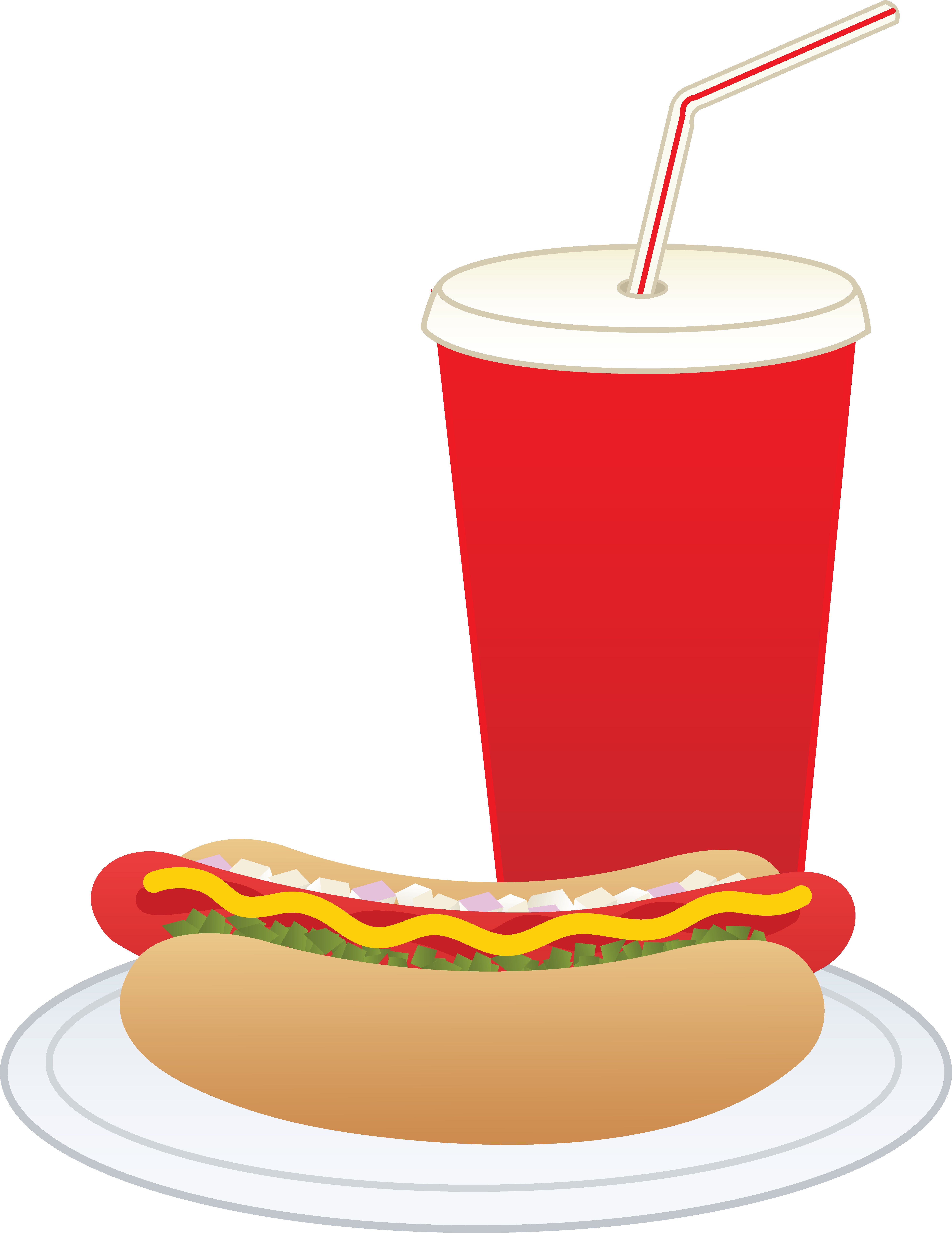 Hot dog and soft. Foods clipart soda