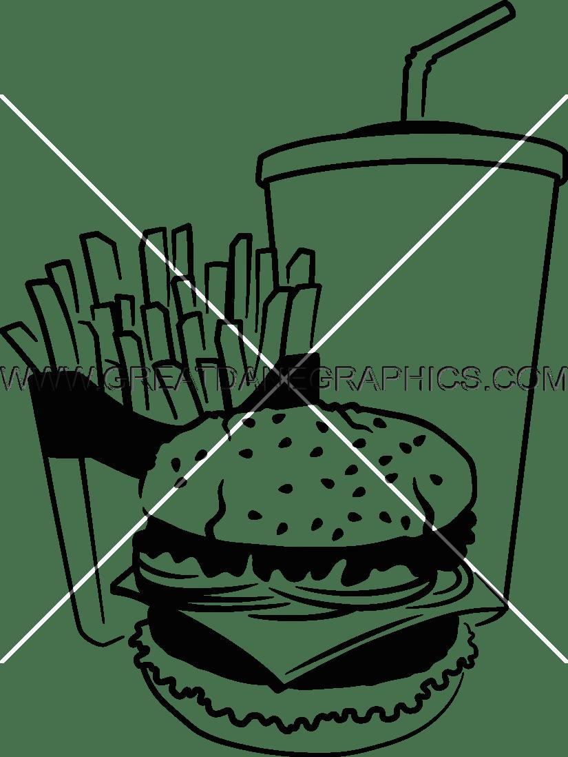 Fries clipart drawn. Fast food drawing at