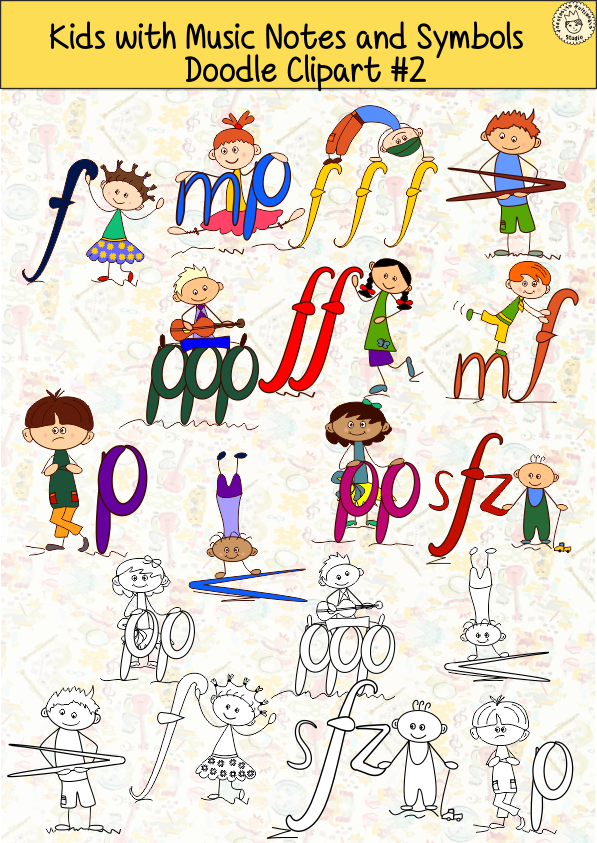 Clipart music doodle. Kids with notes and