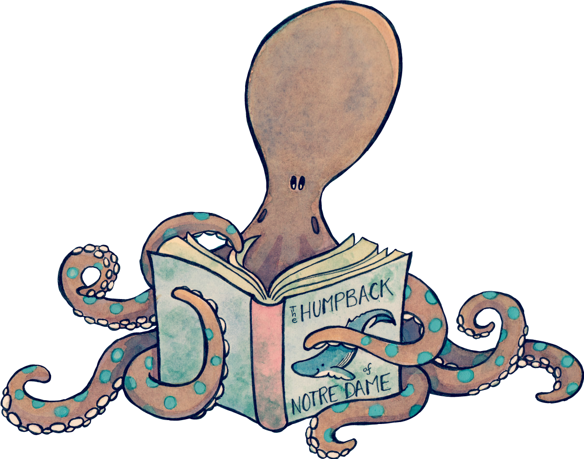 Clipart reading octopus. Sticker by jkmiles l