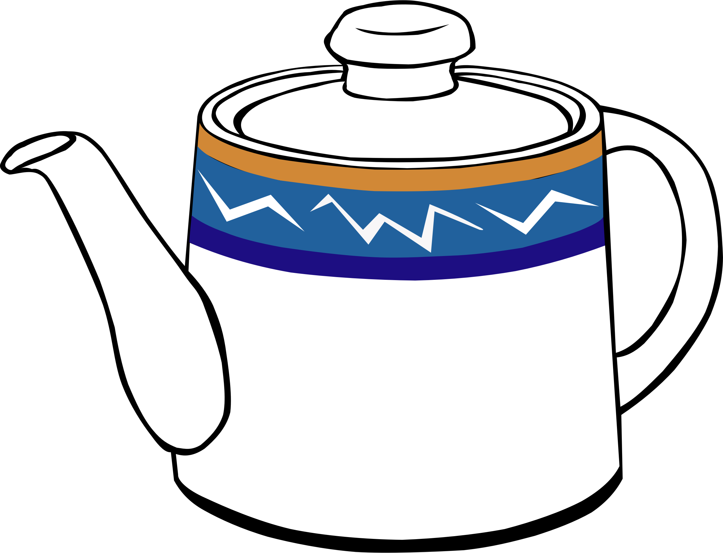 Fast food tea pot. Drinks clipart outline