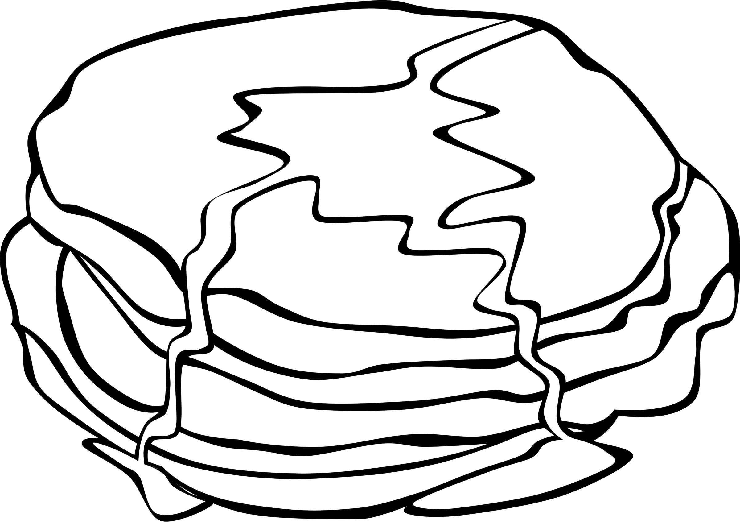 Fast food breakfast pancakes. Ham clipart black and white