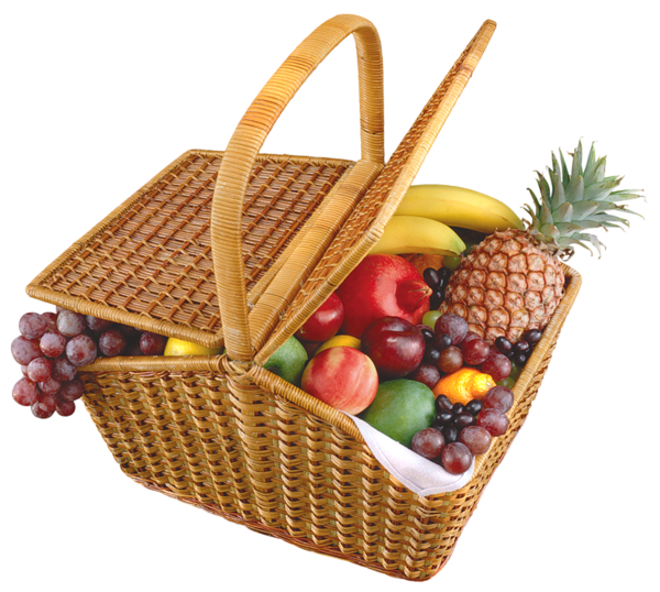Clipart food picnic. Fruit basket png picture