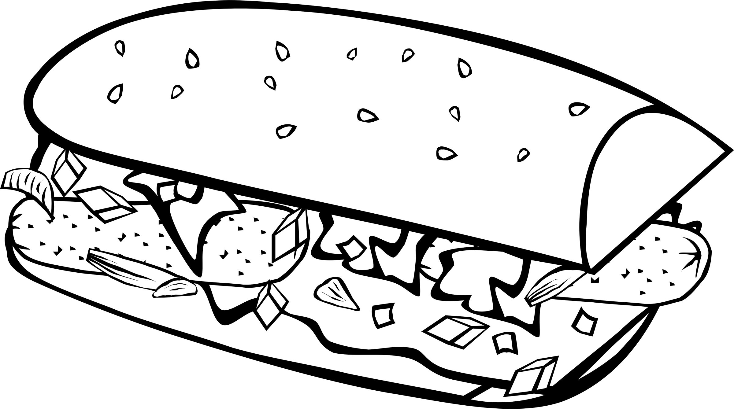 Fast food breakfast sub. Onion clipart colouring page