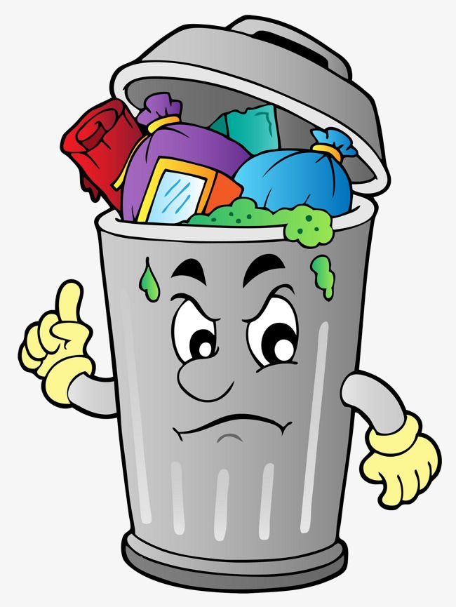 The rubbish in can. Garbage clipart cartoon