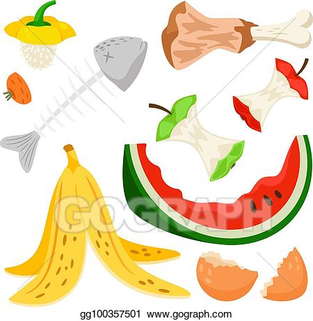 Vector art food compost. Garbage clipart organic waste