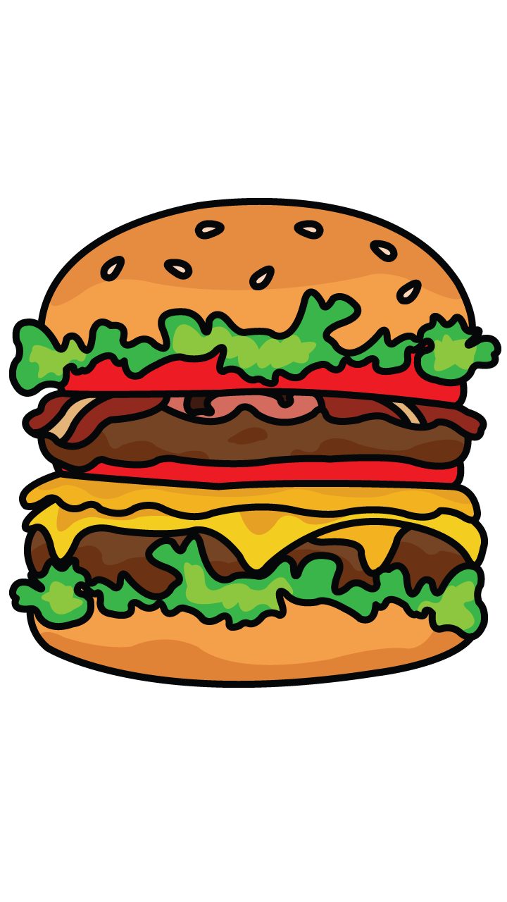 Clipart food simple. Drawn hamburger easy pencil