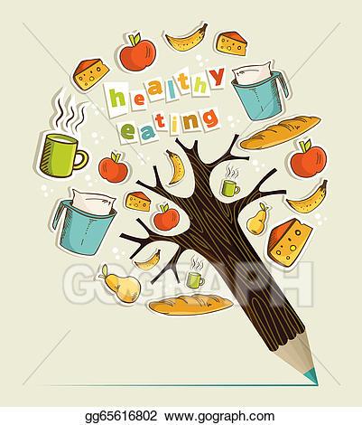 Vector stock healthy concept. Tree clipart food