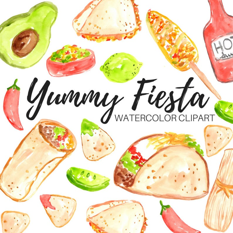 Clipart food watercolor. Mexican fiesta commercial use