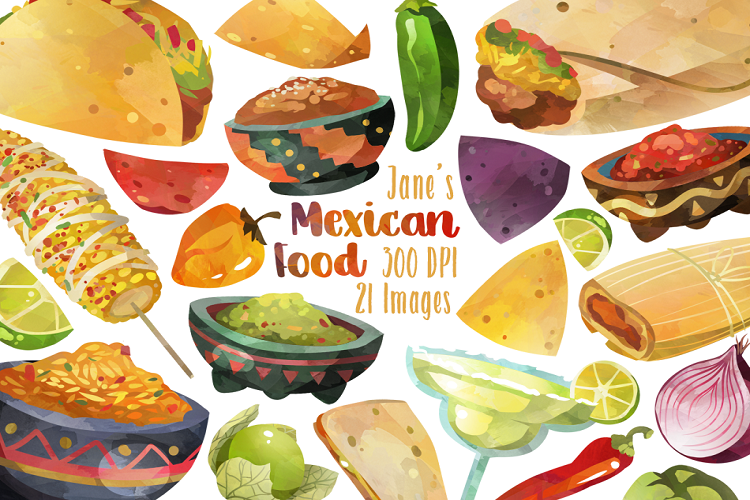 Mexican . Clipart food watercolor