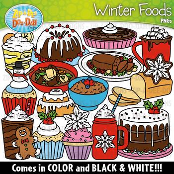 Foods set zip a. Winter clipart food