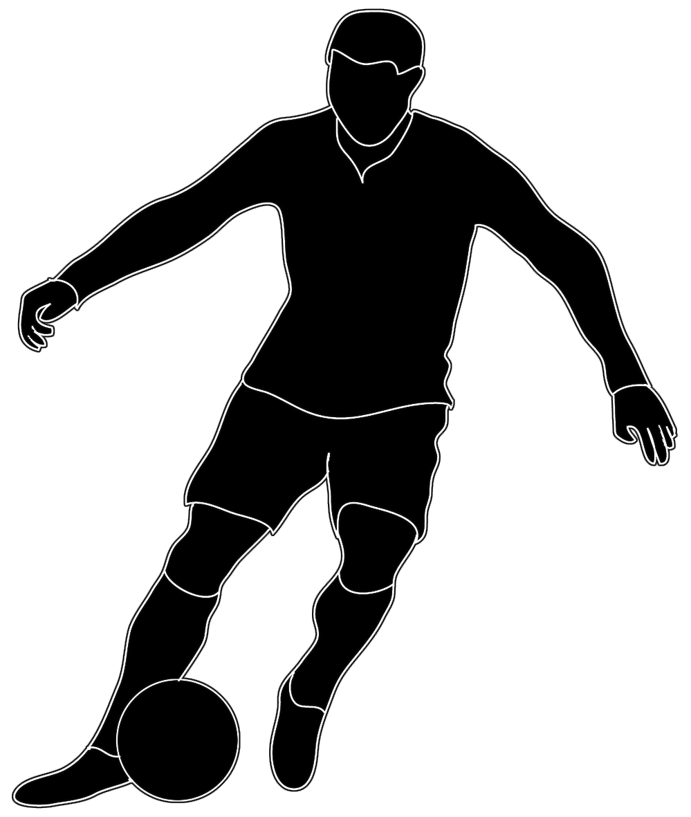 Black white soccer player. Sports clipart silhouette