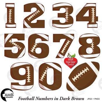 Football clipart birthday. Dark brown numbers sports