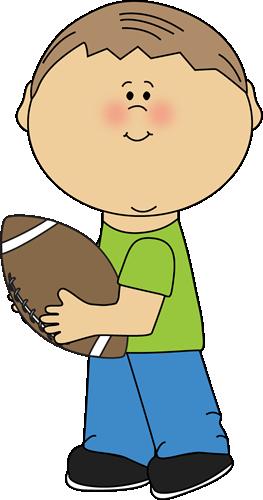Boy carrying a clip. Clipart football book