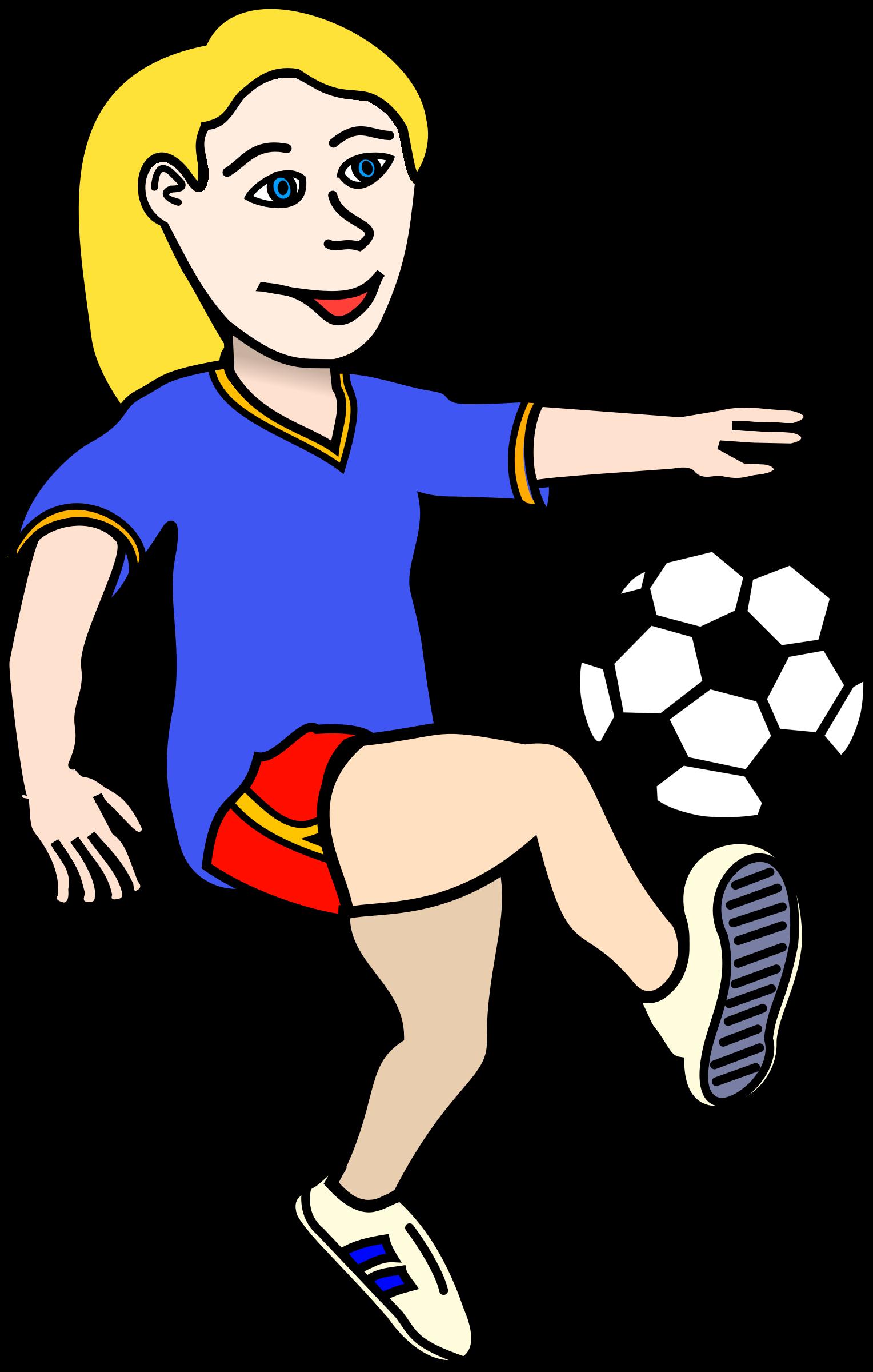Soccer girl cartoon image. Female clipart sports coach