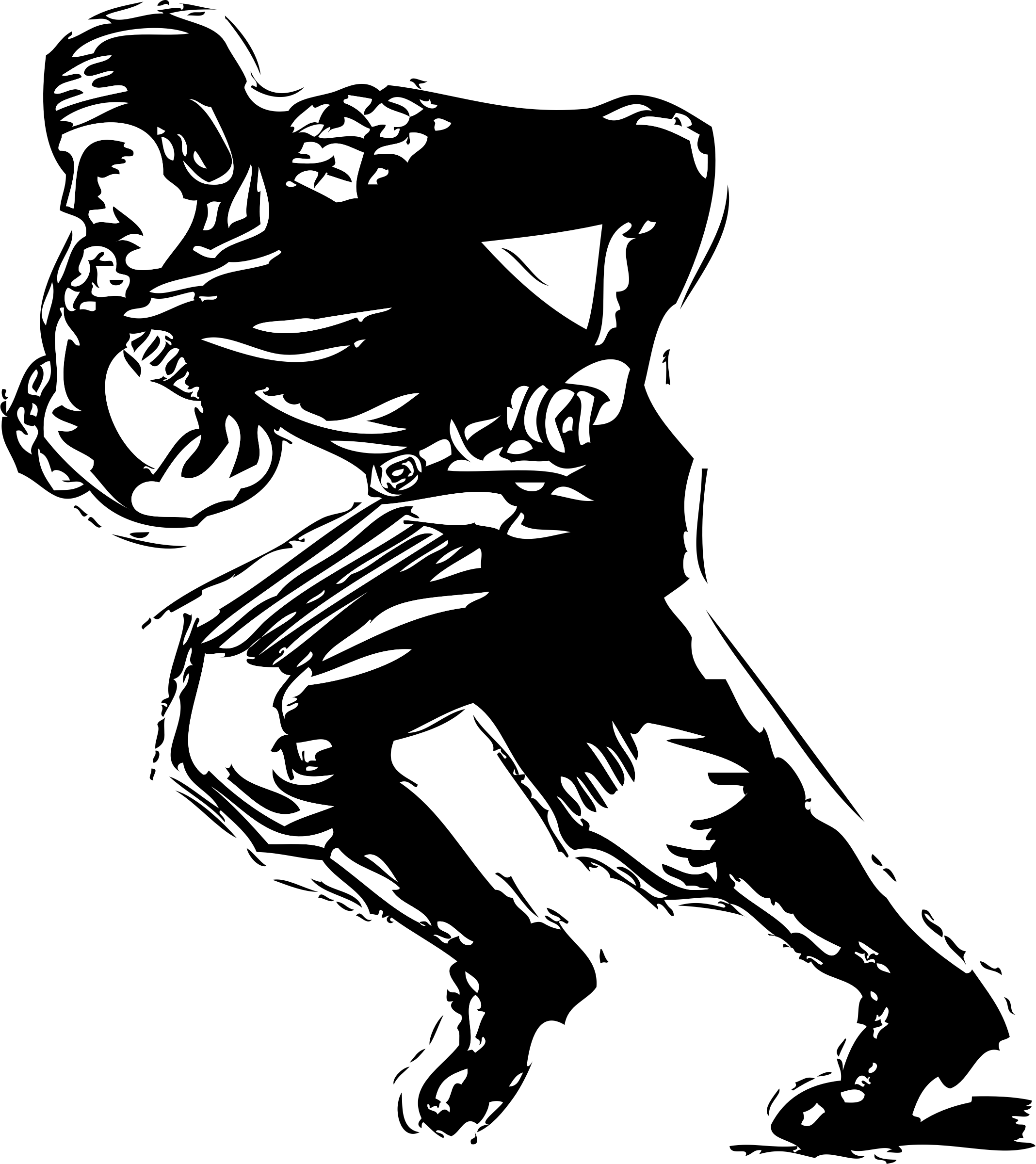 Old time big image. Muscle clipart football player